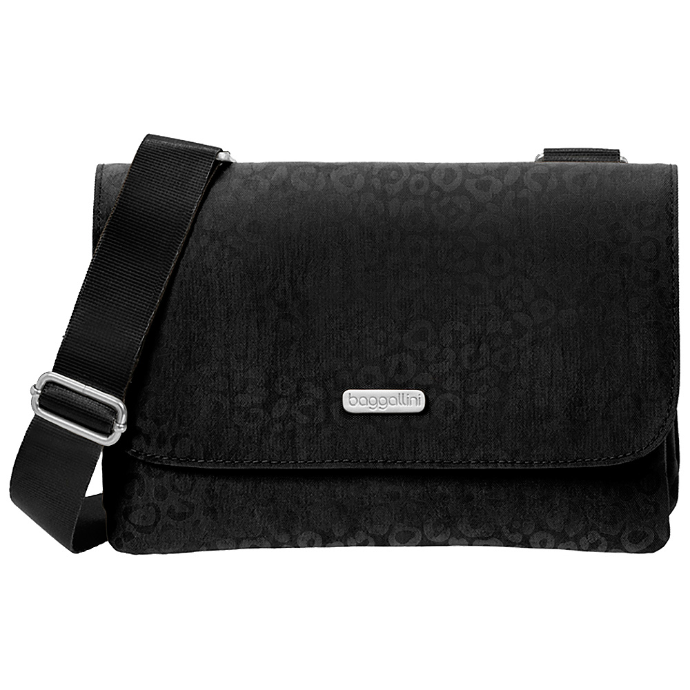 baggallini Venture Crossbody Black Cheetah Emboss baggallini Fabric Handbags