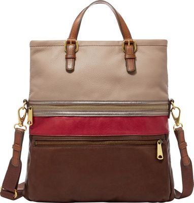 Fossil Explorer Tote Red Multi - Fossil Leather Handbags