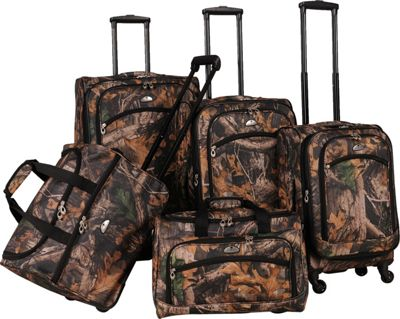 American Flyer Camo 5-Piece Luggage Set Green - American Flyer Luggage Sets