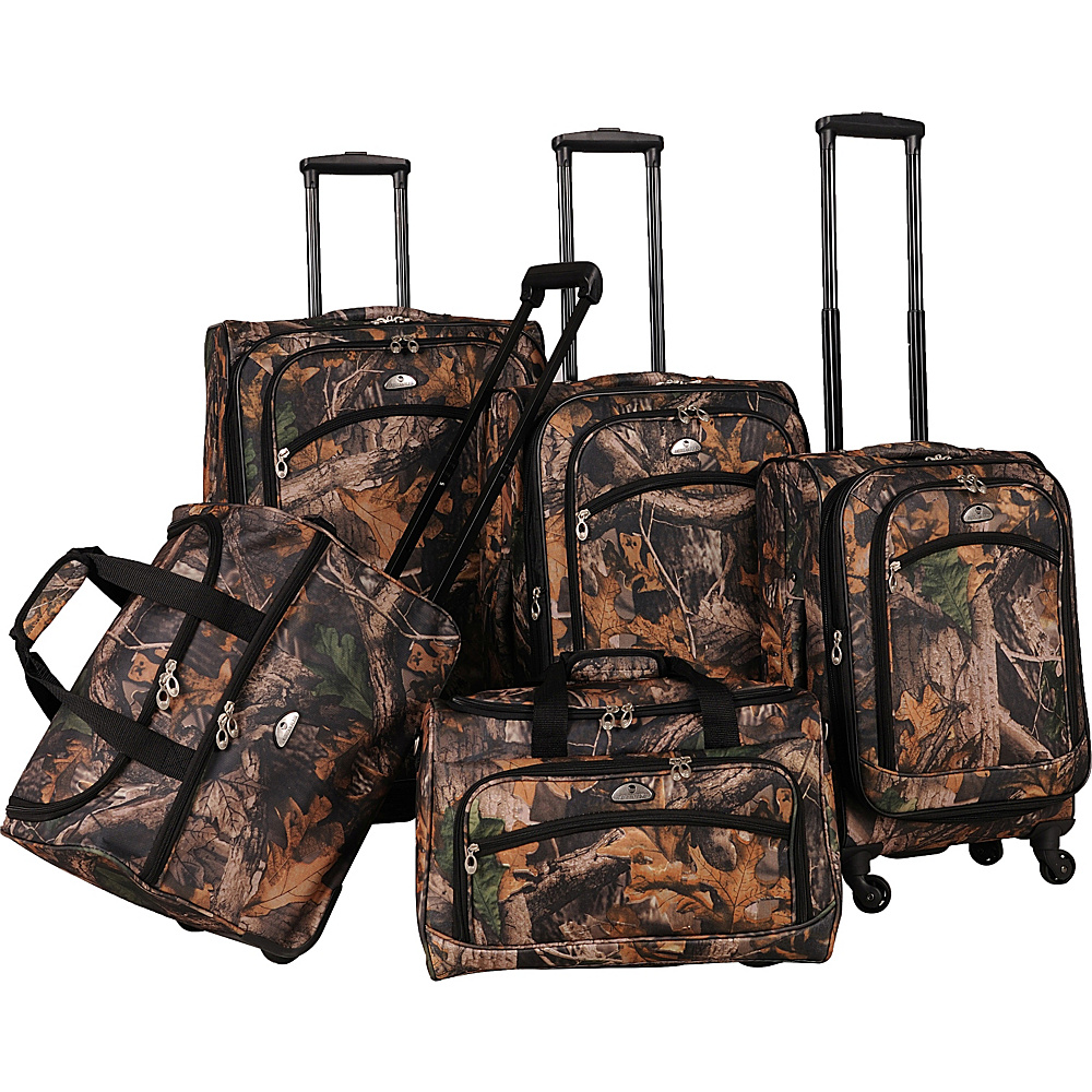 American Flyer Camo 5 Piece Luggage Set Green American Flyer Luggage Sets