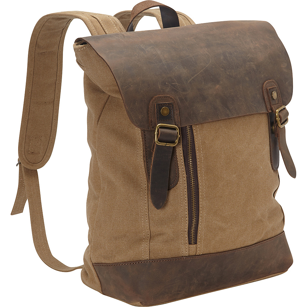 Vagabond Traveler Cowhide Leather Cotton Canvas Backpack Khaki - Vagabond Traveler Everyday Backpacks - Backpacks, Everyday Backpacks