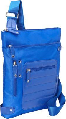 Women In Business Phoenix City Slim Shoulder Bag- 14 inch Blue - Women In Business Fabric Handbags