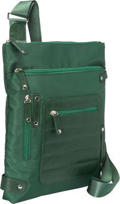 Women In Business Phoenix City Slim Shoulder Bag- 14 inch Green - Women In Business Fabric Handbags