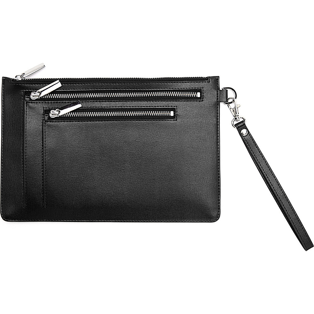 Royce Leather RFID Blocking Saffiano Leather Zippered Document Holder Portfolio Black Royce Leather Women s Wallets