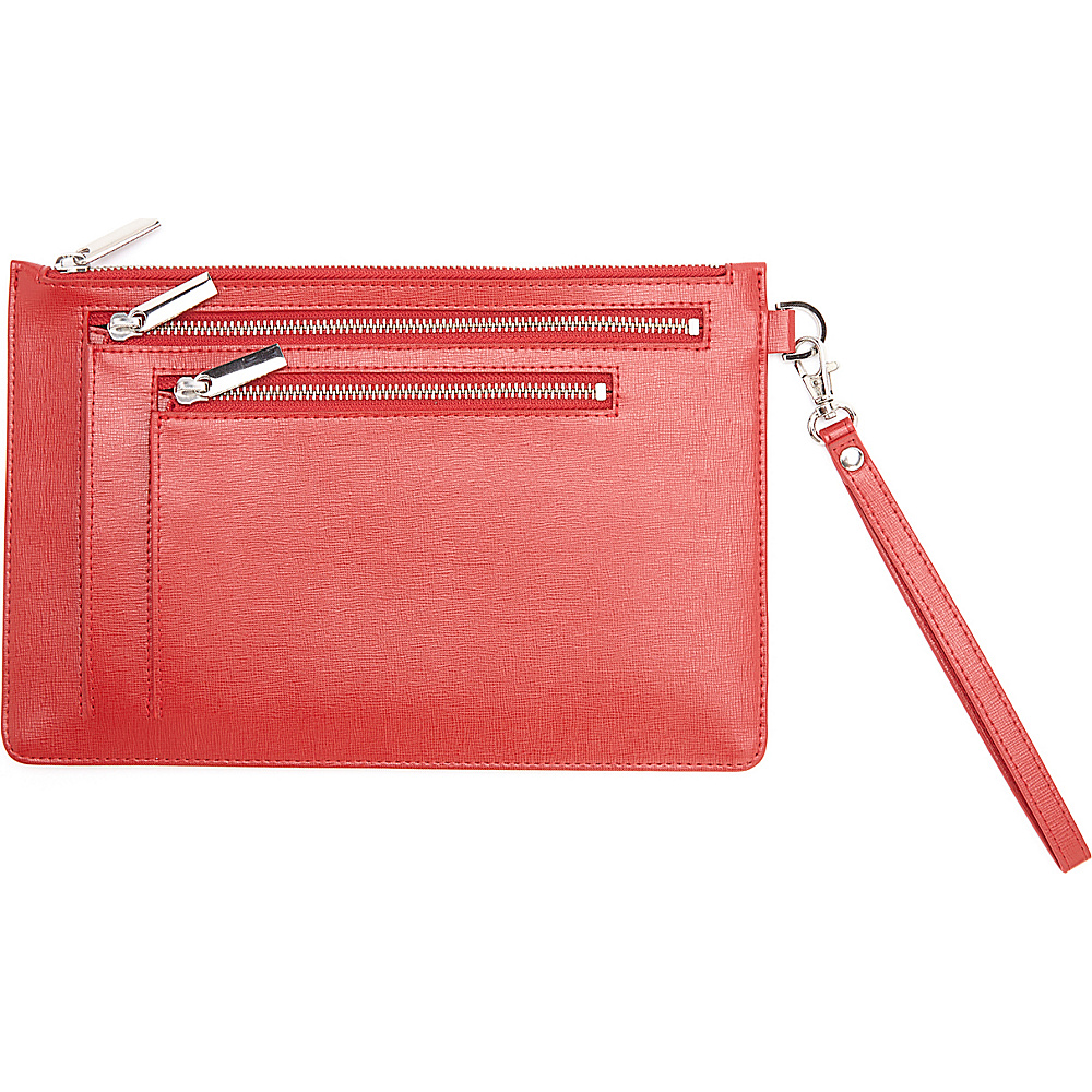 Royce Leather RFID Blocking Saffiano Leather Zippered Document Holder Portfolio Red Royce Leather Women s Wallets