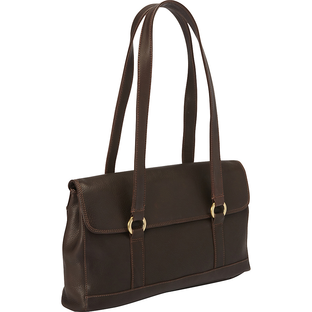 Derek Alexander E/W 1/4 Flap Triple Compartment Shoulder Bag Brown - Derek Alexander Leather Handbags - Handbags, Leather Handbags