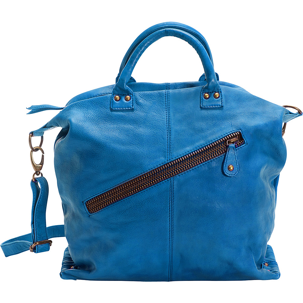 Latico Leathers Michaela Satchel Crinkle Blue - Latico Leathers Leather Handbags