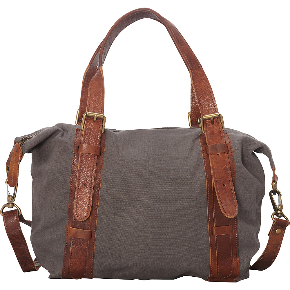 Sharo Leather Bags Leather and Canvas Shoulder Bag Green and Brown Two Tone - Sharo Leather Bags Fabric Handbags