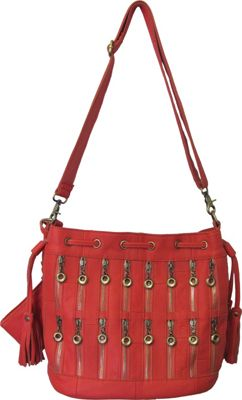 AmeriLeather Zippety Leather Shoulder Bag Orange - AmeriLeather Leather Handbags