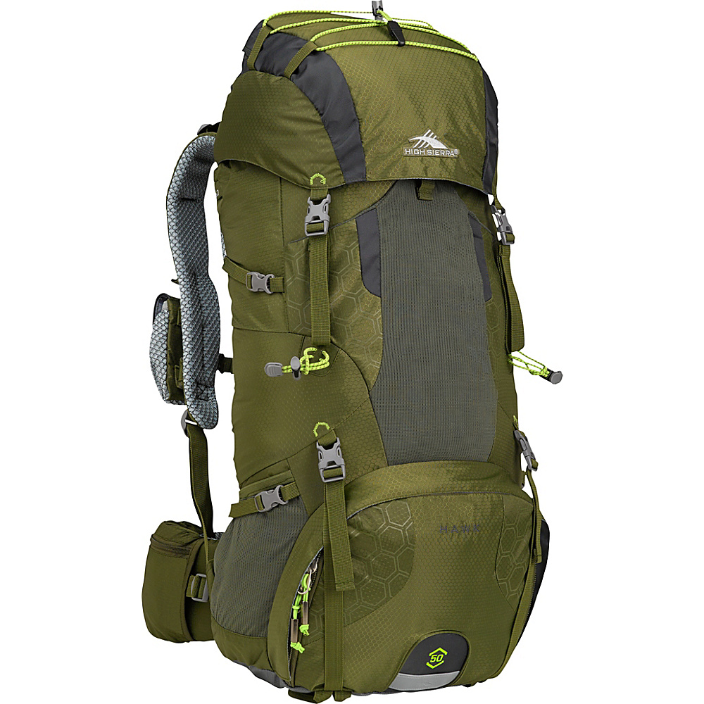 High Sierra Hawk 50 Frame Pack MOSS/MERCURY/CHARTREUSE - High Sierra Day Hiking Backpacks