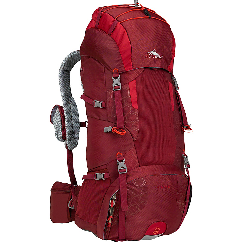 High Sierra Hawk 50 Frame Pack BRICK RED/CARMINE/RED LINE - High Sierra Day Hiking Backpacks