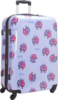 Ed Heck Luggage Multi Love Birds Hardside Spinner Luggage 28 inch Spinner Light Purple - Ed Heck Luggage Hardside Checked