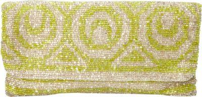 Moyna Handbags Beaded Evening Clutch S.Silver/Lime - Moyna Handbags Evening Bags