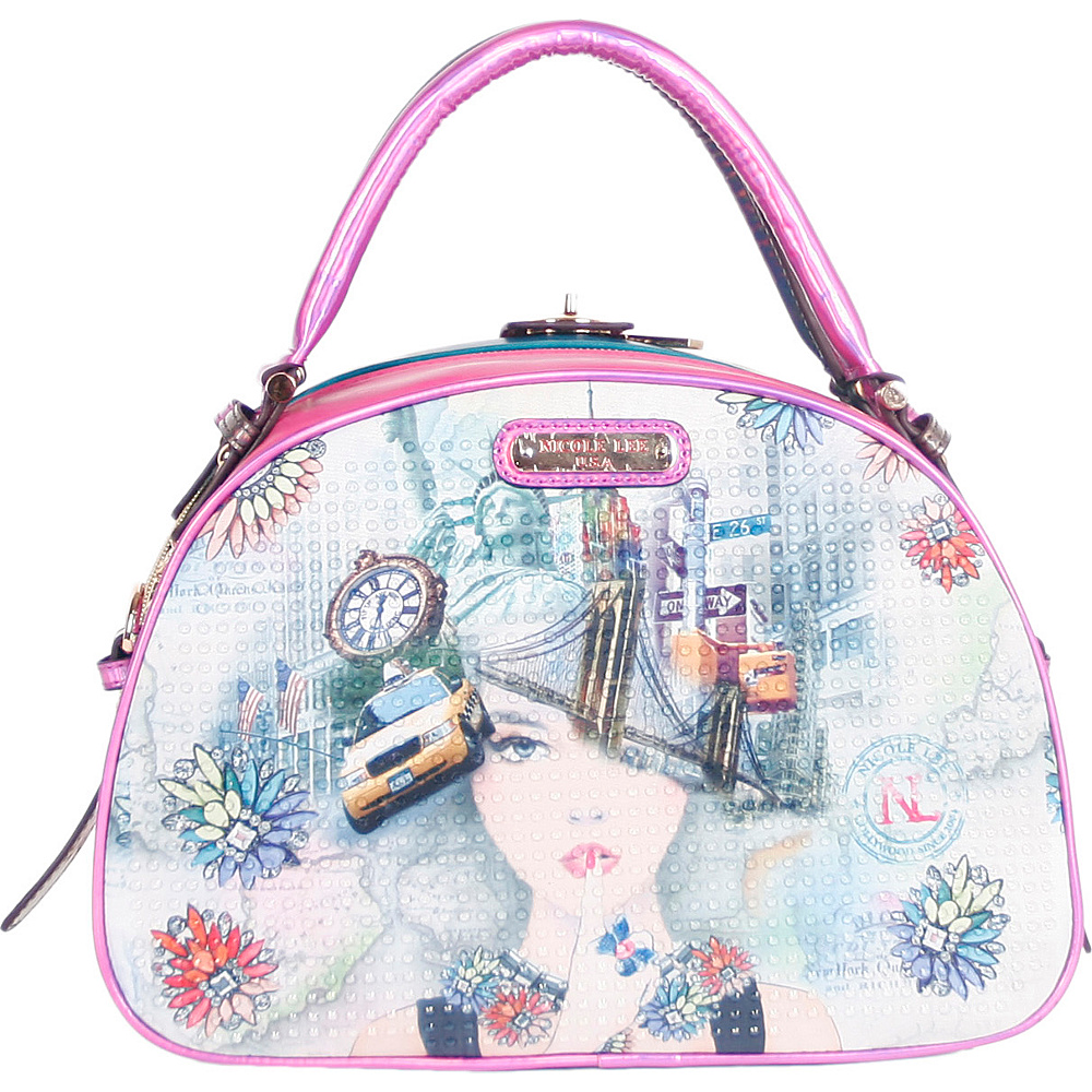 Nicole Lee New York New York Print Bowler Bag New York 2 Nicole Lee Manmade Handbags