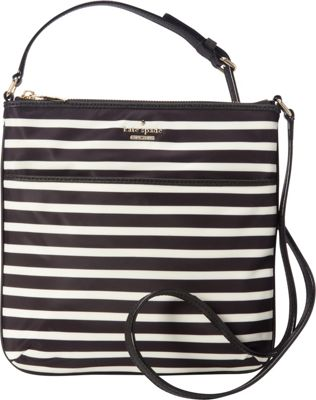 kate spade new york Classic Nylon Joni Crossbody Black/Clotted Cream - kate spade new york Designer Handbags