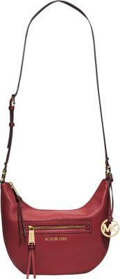 MICHAEL Michael Kors Rhea Zip Small Messenger Red - MICHAEL Michael Kors Designer Handbags