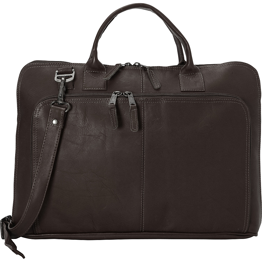 Latico Leathers Shoo Slim Top Zip Brief Café - Latico Leathers Non-Wheeled Business Cases - Work Bags & Briefcases, Non-Wheeled Business Cases