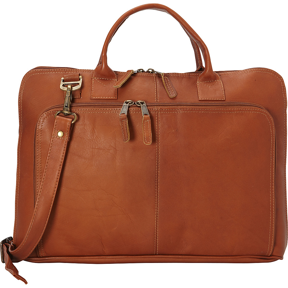 Latico Leathers Shoo Slim Top Zip Brief Natural - Latico Leathers Non-Wheeled Business Cases - Work Bags & Briefcases, Non-Wheeled Business Cases