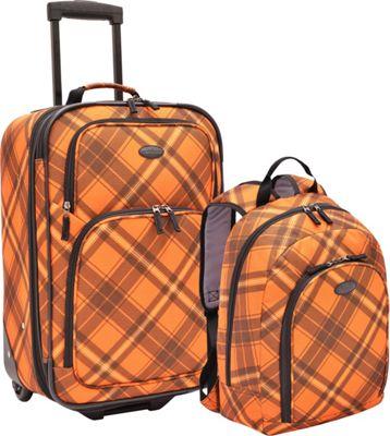 U.S. Traveler 2-Pc Carry-On Rolling Upright and Backpack Luggage Set Orange Plaid - U.S. Traveler Luggage Sets