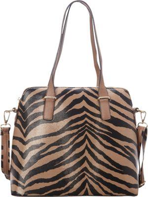 SW Global Alena Zebra Print Shoulder Bag Khaki - SW Global Manmade Handbags
