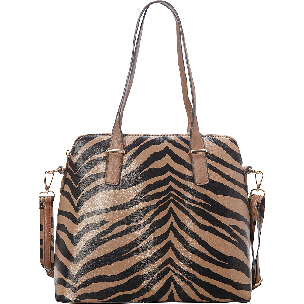 SW Global Alena Zebra Print Shoulder Bag Khaki - SW Global Manmade Handbags - Handbags, Manmade Handbags