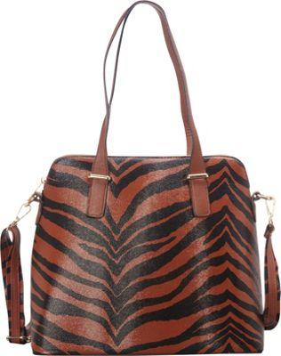 SW Global Alena Zebra Print Shoulder Bag Dark Khaki - SW Global Manmade Handbags