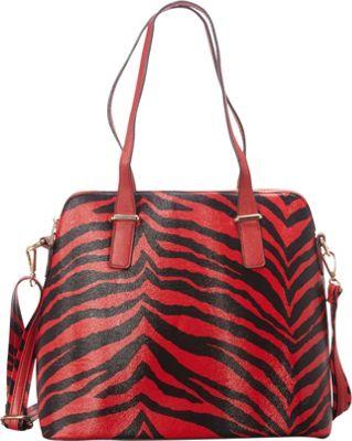 SW Global Alena Zebra Print Shoulder Bag Red - SW Global Manmade Handbags