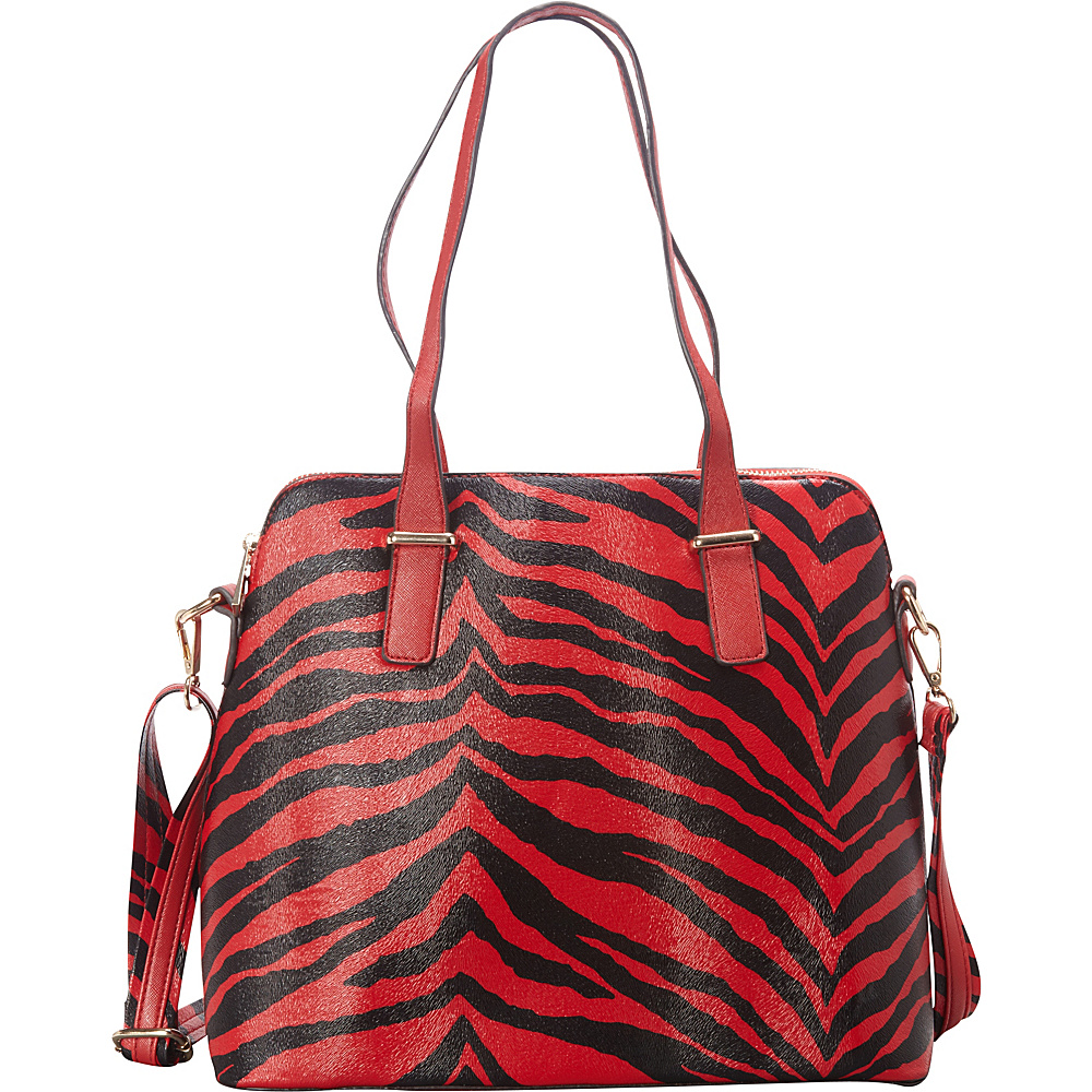 SW Global Alena Zebra Print Shoulder Bag Red - SW Global Manmade Handbags - Handbags, Manmade Handbags