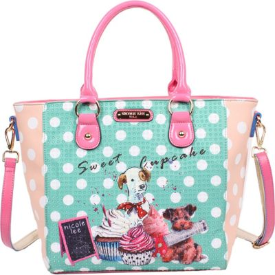 Nicole Lee Cupcake Dog Print Tote Cupcake Dog - Nicole Lee Manmade Handbags
