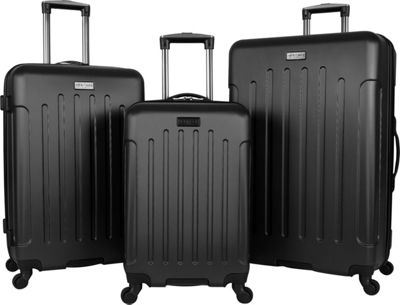 Heritage Lincoln Park 3 Piece Hardside Spinner Luggage Set Black - Heritage Luggage Sets