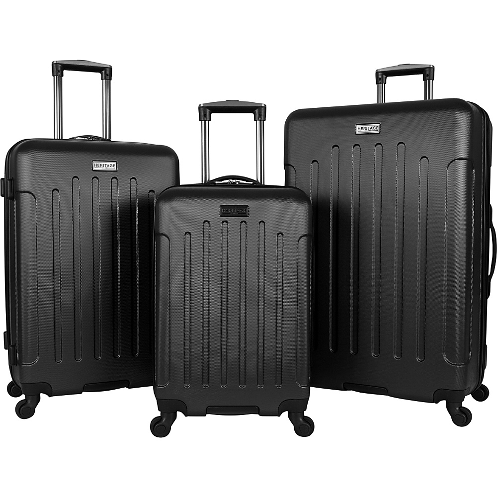 Heritage Lincoln Park 3 Piece Hardside Spinner Luggage Set Black Heritage Luggage Sets