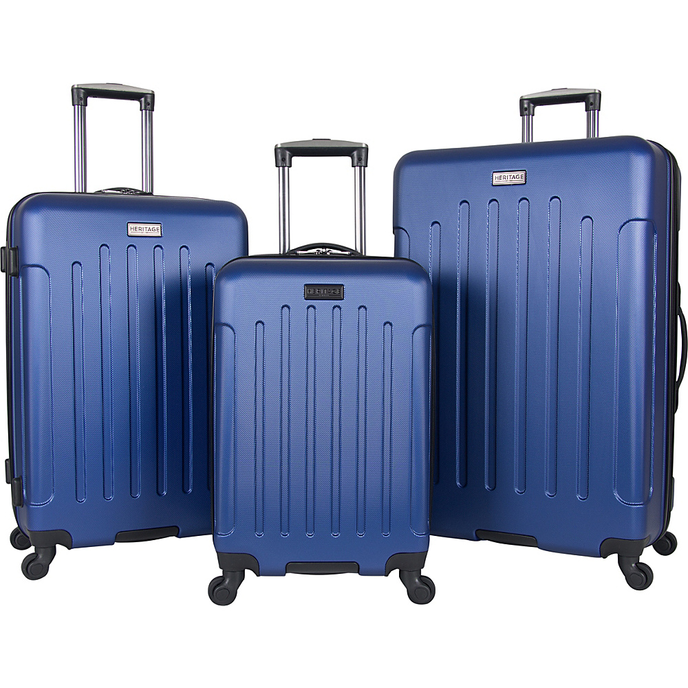 Heritage Lincoln Park 3 Piece Hardside Spinner Luggage Set Cobalt Heritage Luggage Sets