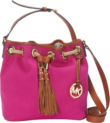 MICHAEL Michael Kors Marina Medium Messenger - Canvas Fuschia - MICHAEL Michael Kors Designer Handbags
