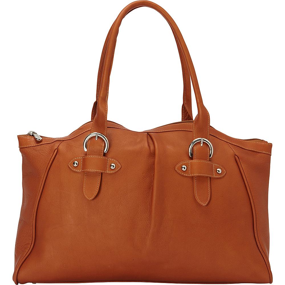 Piel Large Top-Zip Shoulder Bag Saddle - Piel Leather Handbags - Handbags, Leather Handbags