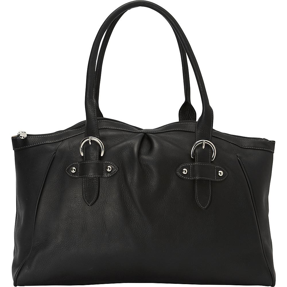 Piel Large Top-Zip Shoulder Bag Black - Piel Leather Handbags - Handbags, Leather Handbags