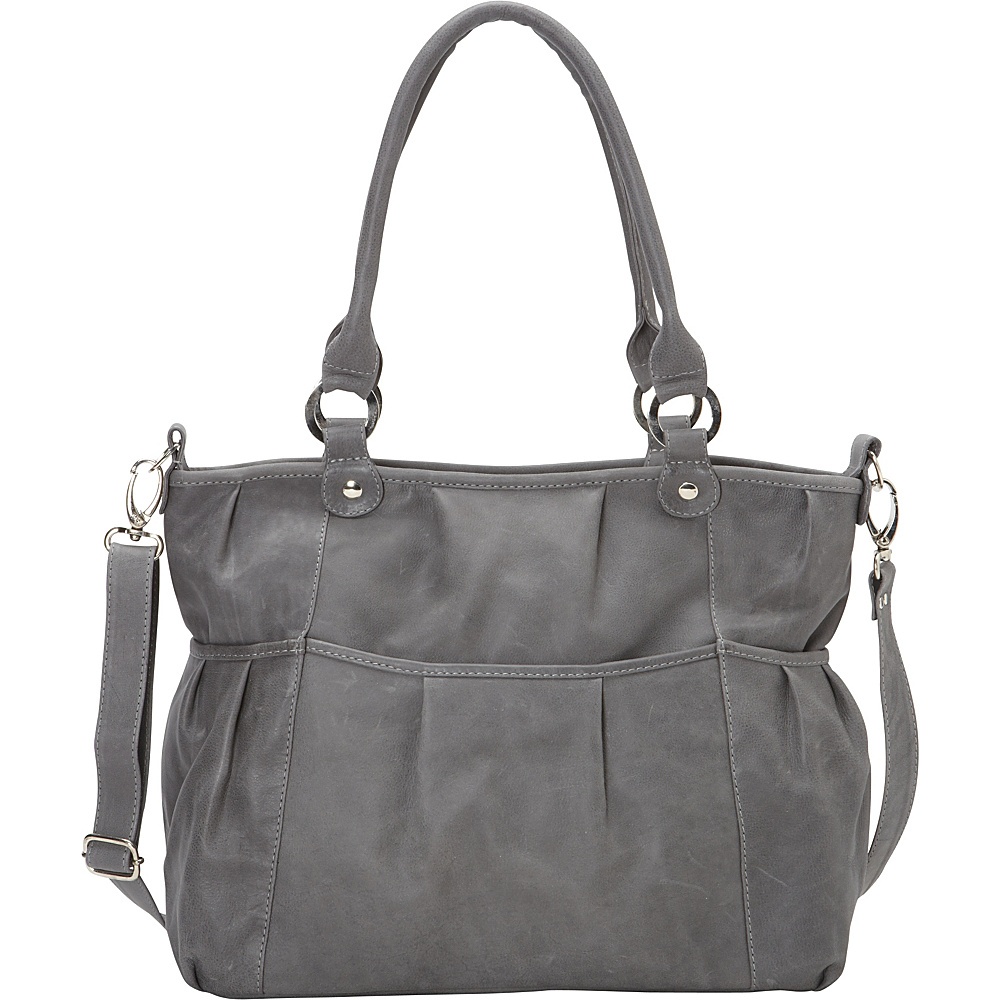 Piel Zippered Crossbody Charcoal - Piel Leather Handbags - Handbags, Leather Handbags