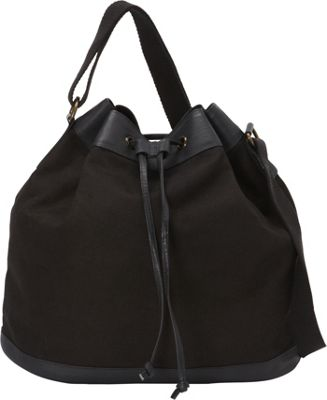 Sharo Leather Bags Black Canvas and Leather Hobo Black - Sharo Leather Bags Fabric Handbags