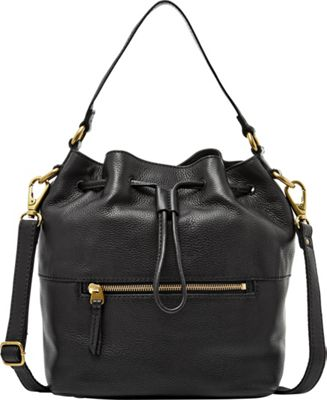 Fossil Vickery Drawstring Shoulder bag Black - Fossil Leather Handbags