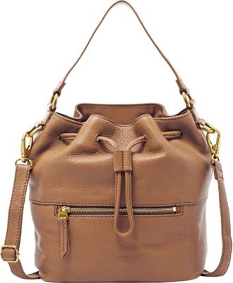 Fossil Vickery Drawstring Shoulder bag Camel - Fossil Leather Handbags