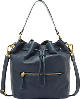 Fossil Vickery Drawstring Shoulder bag Heritage Blue - Fossil Leather Handbags