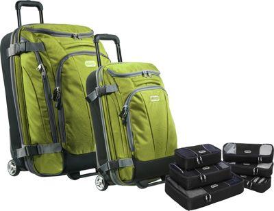 eBags Value Set:  TLS Mini 21 inch Wheeled Duffel + TLS Junior 25 inch Wheeled Duffel + Packing Cube - 3pc Set + Slim Packing Cube Green Envy - eBags Luggage Sets