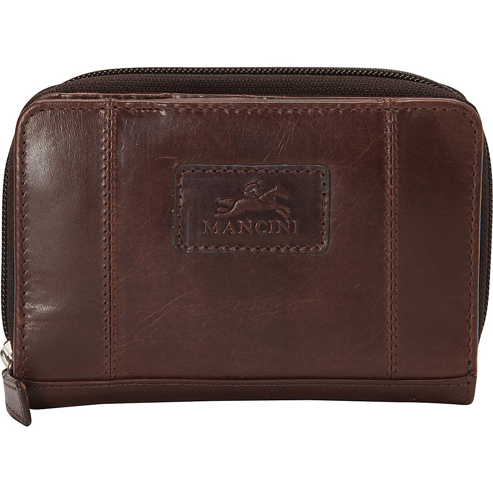 Mancini Leather Goods Ladies RFID Clutch Wallet Brown Mancini Leather Goods Women s Wallets