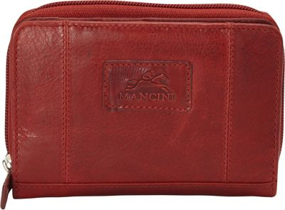 Mancini Leather Goods Casablanca Collection: Ladies Extra-Small RFID Clutch Wallet Red - Mancini Leather Goods Women's Wallets