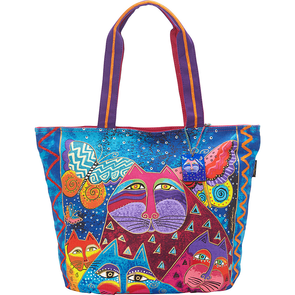 Laurel Burch Cats with Butterflies Tote Multi Laurel Burch Fabric Handbags