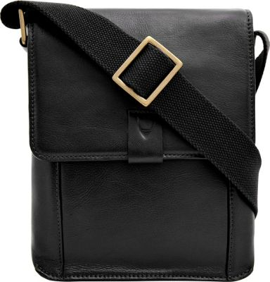 Hidesign Aiden Small Leather Messenger Crossbody Bag Black - Hidesign Messenger Bags