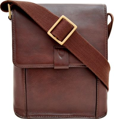 Hidesign Aiden Small Leather Messenger Crossbody Bag Brown - Hidesign Messenger Bags