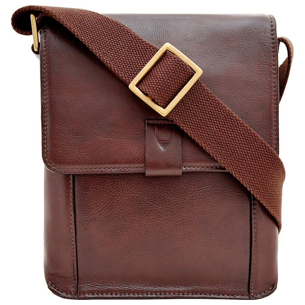 Hidesign Aiden Small Leather Messenger Crossbody Bag Brown Hidesign Messenger Bags