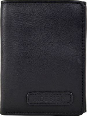 Hidesign Charles Classic Trifold Leather Wallet with ID Window Black - Hidesign Men's Wallets