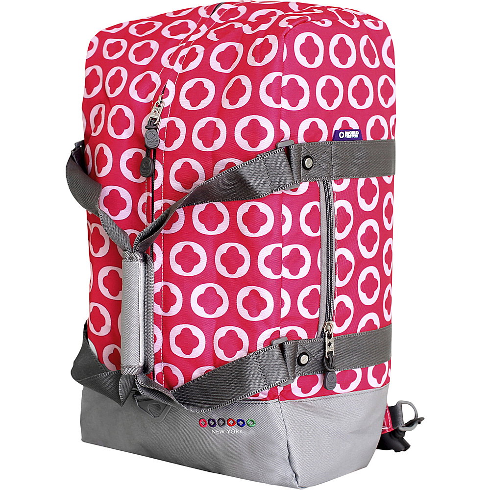 J World New York Duncan19 Three-Way Weekender Pink Logo - J World New York Rolling Duffels - Luggage, Rolling Duffels