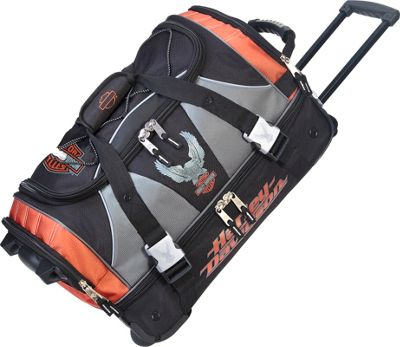 Harley Davidson by Athalon 21 inch Carry-On with Organizer Rust/Black - Harley Davidson by Athalon Rolling Duffels